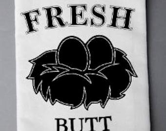 Farm Fresh Butt Nuggets Flour Sack Towel, Farmhouse Decor, Kitchen Towel, Flour Sack