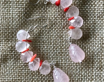 Rose quartz & Red Coral Sterling Silver Earrings