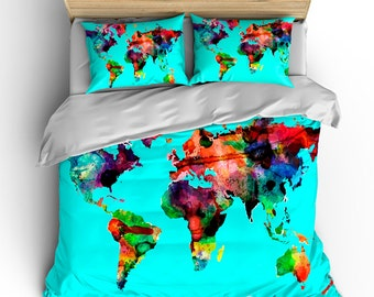 Custom bedding duvet cover watercolors on white world map custom bedding duvet cover watercolors on aqua world map tw qu or ki gumiabroncs Image collections