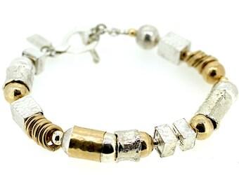 Random Silver and Gold Bracelet / Random Shapes Bracelet / Two Tone Shape Bracelet / Handmade Hammered Bracelet / Ethnic Silver Bracelet