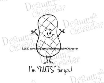 "Cute Kids Valentine's Images Digital Stamp Art/ KopyKake Image: ""I'm Nuts for you!"" - S14-VDPEANUT"