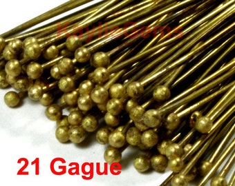 Headpins Ball Tip Head Raw Brass 50mm 2 inches, 21 Gauge - 100pcs