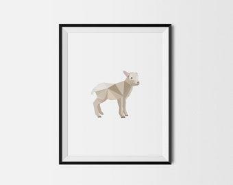 Geometric Art Print, Nursery Art, Baby Room Art, Lamb Art Print, Minimal Art Print