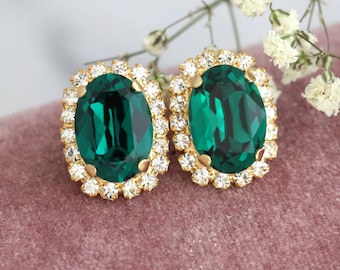 Emerald Earrings, Emerald Swarovski Earrings, Emerald Studs, Bridesmaids Emerald Earrings, Bridal Emerald Earrings, Christmas Gift For Her