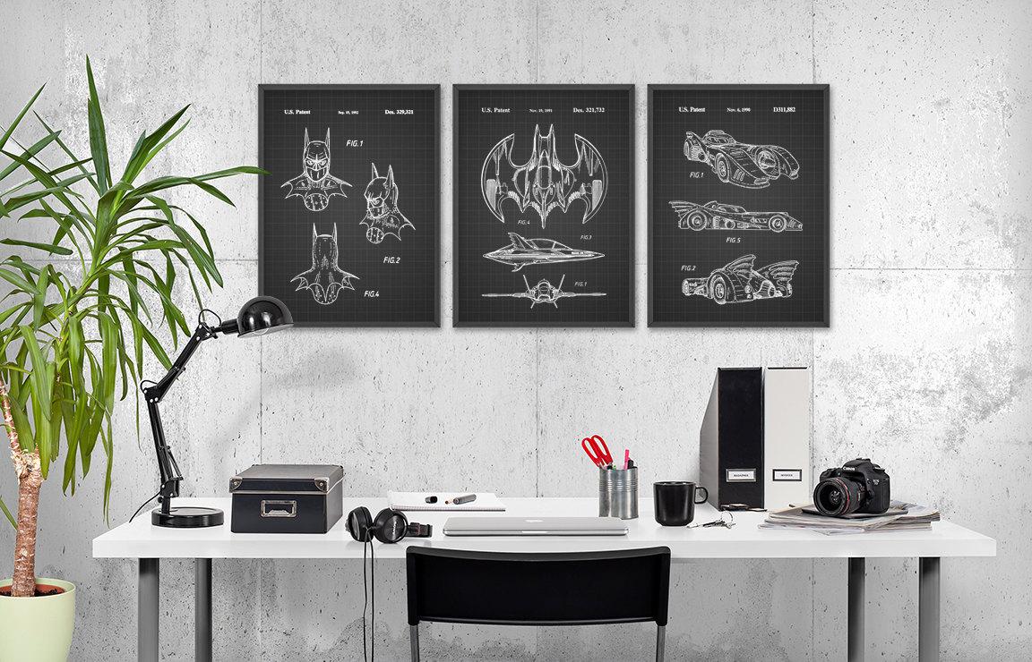 Batman Patent Print Wall Art Poster Set of 3 Comic Book