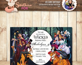 Villains Birthday Invitation - Custom Digital Invitation 5x7 - Disney Villains Birthday Invitation, Villains, Disney Villains, Villain