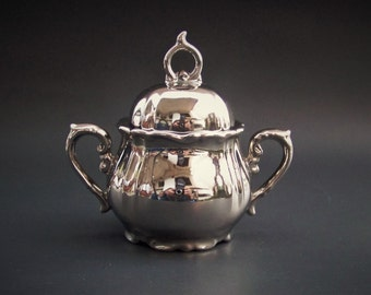 Vintage 1960's Norcrest Fine China Silver/Pewter Luster ware type Sugar Bowl