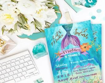 Digital Mermaid Watercolor Printable Invitation File