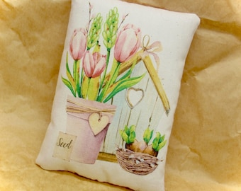 Spring tulip pillow tuck | Mothers Day present | Garden lover gift | Farmhouse decoration | Watercolor decor | country accent decor