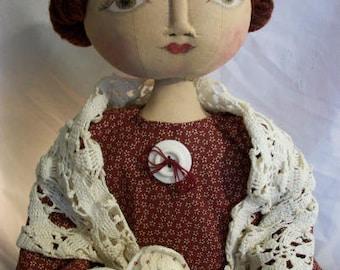 Digital pattern, Primitive doll, hand made folk art original by Dumplinragamuffin