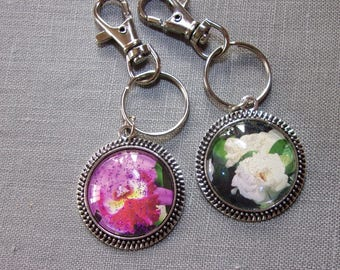 2 Handmade one of a kind cabochon Keychain orchid and gardenia flowers