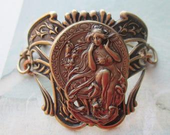 Antiqued Plated Brass  Nouveau Goddess Bracelet Cuff And Chain Nouveau Design Bracelet