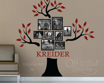 Family Tree Decal - Personalized with family name - Genealogy family tree - vinyl decal - wall decor - family room