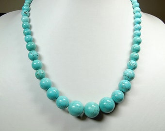 Blue turquoise Necklace. Graduated necklace. Beaded necklace