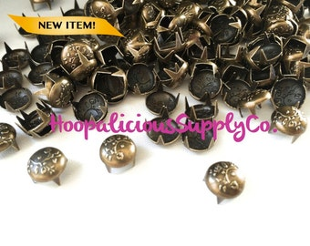 100 pcs-9mm Flower Pattern Metal Prong Studs-Available in Brass only.DIY Clothing etc. Fast Shipping from USA w/ Tracking 4 Domestic Orders.