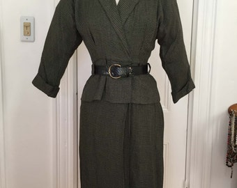 Vintage 1980s Peplum Dress w/ Original Belt by Katie Petite, Army Green & Black Houndstooth Check, 3/4 Length Sleeves, XS, Small