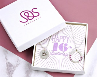 Sweet 16 Girl   Sterling Silver   Birthstone Necklace   Layered Necklace Set   16th Birthday   Sweet Sixteen   Trending Now   Cute Teen Girl