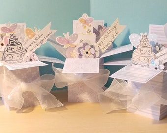 Handmade Exploding Box Wedding or Shower Card- 3 Variations --  Free Shipping in USA