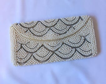 vintage PEARL SILVER BEADED clutch 1950s handbag flapper Art Deco inspired