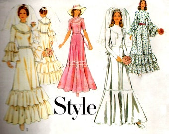 Style 4754 Womens Wedding Dress Flared Sleeves & Flounces Bridal Gown 70s Vintage Sewing Pattern Size 14 Bust 36 inches UNCUT Factory Folded
