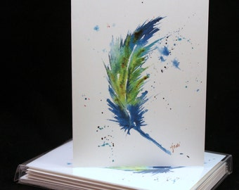 Set of Blue Feather Original Watercolor PRINT- Greeting Cards/ Note Cards  (Set of four), Feather Cards
