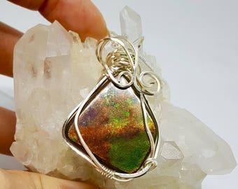 Rainbow Swirl Ammolite Necklace