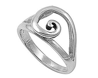 Women Sterling Silver Plain Spiral Ring 12mm / Free Gift Box(SNRP141186)