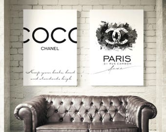 Coco Chanel Posters. Coco Chanel Logo. Coco Chanel Quote. Chanel Wall art. Fashion set prints. Chanel watercolor. Chanel Sign Print Set of 2