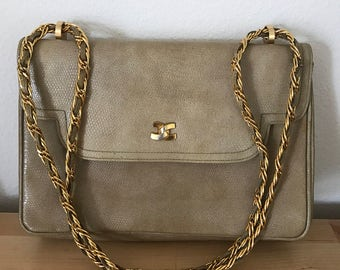 Morris Moskowitz Cross Body Beige Chain Strap Faux Leather 1980s