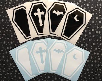 "Coffin vinyl decal [3.3x5""] - Car decal, Laptop sticker, Spooky, Goth, Macabre, Horror, Halloween, Hallowe'en"