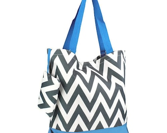 SALE 7 Personalized  Bridesmaid Gift Chevron Tote Bag Gray & Turquoise