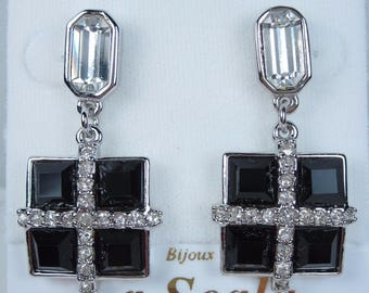 La Scala Rhodium Plated Pierced Earrings with Jet Swarovski Crystals 0357