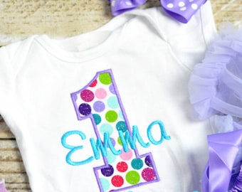 Purple First (1st) Birthday Outfit - First birthday outfit, birthday cake smash shirt for baby girls! Baby girl first birthday outfit!