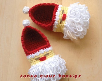 Crochet Pattern - Santa Claus Baby Booties Crochet Pattern for Christmas Winter Holiday Preemie Shoes Newborn Socks Moccasins (SC01-R-PAT)