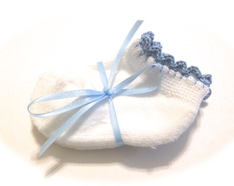 Infant Girl Socks With Delft Blue Crocheted Shell Stitch-Size 0-6 Months