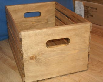 """wood crate, Large wood crate, 18"""" wooden crate walnut stain,heavy duty crate, storage crate, rustic storage crate,"""