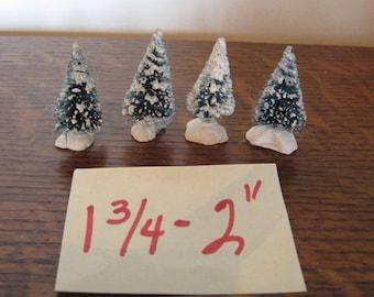 """Bottle Brush Christmas Trees, 4 Bottle Brush Trees, 2"""" Xmas Trees"""