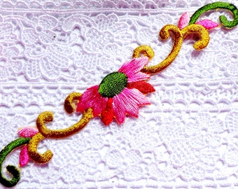Iron On Patch Applique - Floral Spray Pink with Scrolling