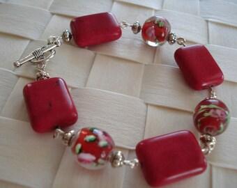 """Hot Pink Bracelet, Lampwork Beaded Bracelet, Pink Chunky Bracelets, Pink Jewelry, 8"""" Length Bracelet"""