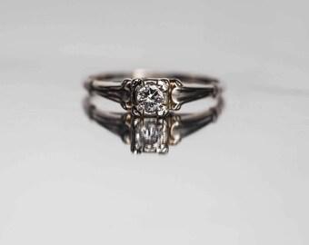 Circa 1950s 18K White Gold .20ct Round Brilliant Cut Diamond Engagement Ring - VEG#706