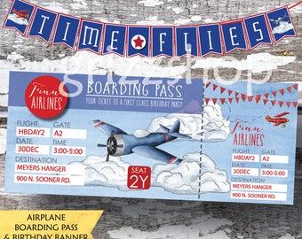 Airplane Boarding Pass & Birthday Banner Set