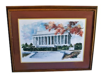 Paul N. Norton Framed Print on Watercolor Paper, Lincoln Memorial