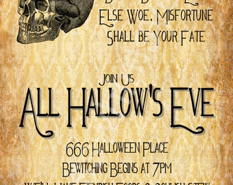 All Hallow's Eve Halloween Party Invitation- 4x8, 5x7, 4x6 DIY Printable