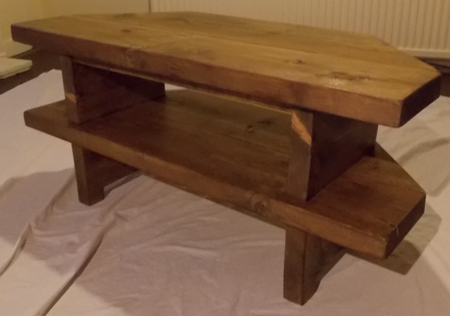 Hand Made Rustic Corner Tv Stand 028