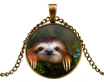 sloth pendant sloth necklace sloth jewelry -with gift box
