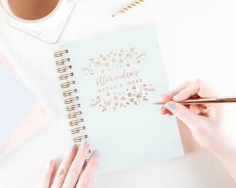 Personalised Luxury Foiled Notebook Floral Burst