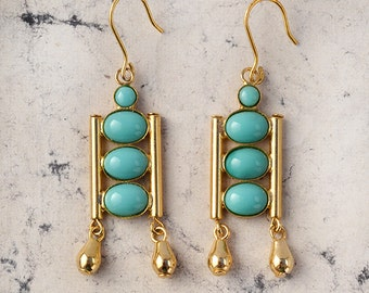 Ada-Italian Vintage Jewelry, Swarovski Crystal, Turquoise, Shapphire, Cabochon