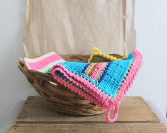 Vintage Handmade Swedish Striped Pot Holder Dish Towel, Retro Kitchen Decor