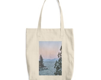 Lake Tahoe Sunrise Cotton Tote Bag, Grocery Bags, Book Bags, Lake Tahoe Bag, Travel Bag, Landscapes, Made In The USA, Teacher Gift