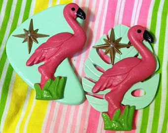 NEW STYLE - Pink Flamingo Brooch - Mint Boomerang Leaf - Atomic Novelty Brooch - Tacky Kitsch Mid Century Modern - John Waters - Pin Up Tiki
